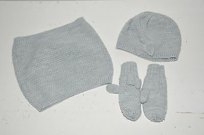 Girls H&m Grey Knitted Hat Snood Mittens 2-3-4 Years