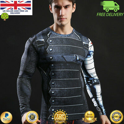 Mens long sleeve compression gym superhero avengers marvel muscle Winter soldier