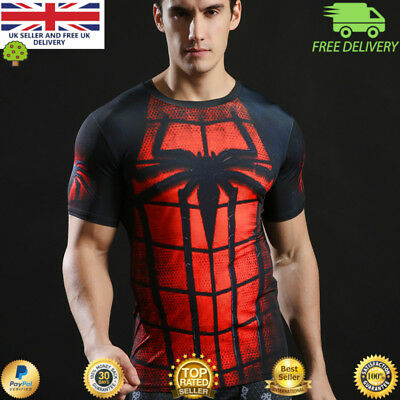 Mens t-shirt compression gym superhero avengers marvel muscle Spiderman