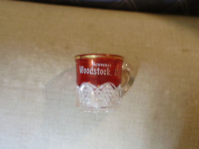 Ruby Red Flash Glass  Gold Trim  Souvenir Cup Woodstock Illinois