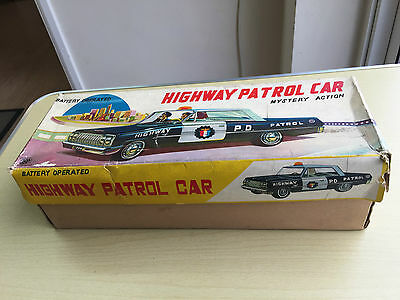 Vintage Japan Tinplate Battery Operated Mystery Action Highway Patrol Car