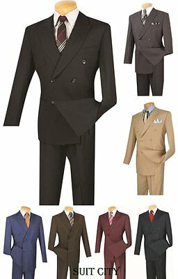 Men's Suit Double Breasted 6 Buttons 2 Piece Classic Fit Solid Colors DC900-1