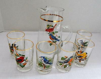 Vintage 7 Pc Juice Beverage Set With Birds on the Side - West Virginia Glass