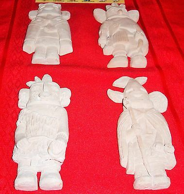 Four (4) Kachinas Wall Hangings - Ready To Paint Plaster - Kachina Post Card