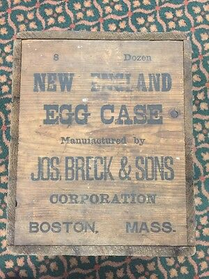 Antique Jos. Breck & Sons New England  Wooden Egg Box Crate Stenciled Writing.