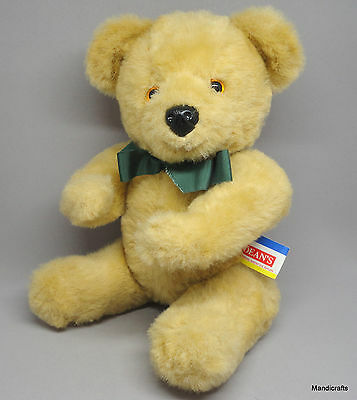 Deans UK Teddy Bear Blonde Plush 12in 1980s Side Seam Label Pontypool Jointed
