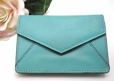 ILI LEATHER ENVELOPE BUSINESS CARD or CREDIT CARD CASE HOLDER ~ TURQUOISE ~ NEW