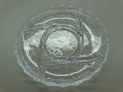 "Heavy 13"" Clear Glass Divided Candy Dish / Tray w/ Raised Glass Floral Pattern"