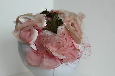 Vintage Pink Floral Ladies Hat/headpiece With Bright Pink Netting