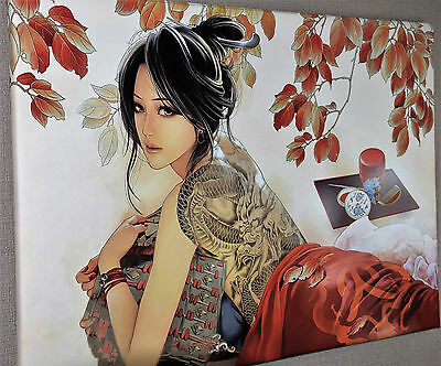 """ABSTRACT GEISHA GIRL FLOWERS CANVAS WALL ART PICTURE PRINT LARGE 20x30"""""""