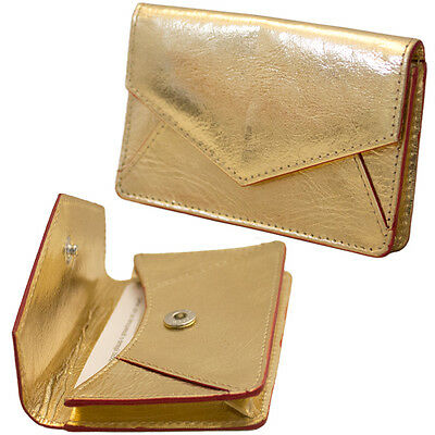 ILI LEATHER ENVELOPE BUSINESS CARD or CREDIT CARD CASE HOLDER METALLIC GOLD~ NEW