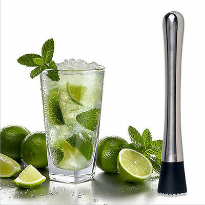 Stainless Steel Bartender Mixing Bar Spoon Drink Stirrer Cocktail Muddler New