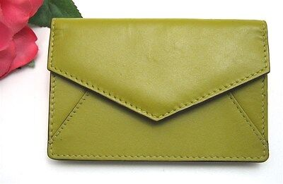 ILI LEATHER ENVELOPE BUSINESS CARD or CREDIT CARD CASE HOLDER ~ MOSS GREEN ~ NEW