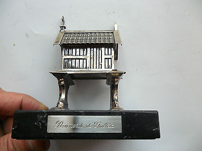 Antique Silver House Box Church Case Miniature On Black Marble Modelled Great