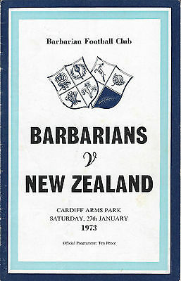 Barbarians v New Zealand 27 Jan 1973 RUGBY PROGRAMME Cardiff Arms Park