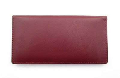 Ili Leather Checkbook Cover Credit Card & Pen Holder  ~ Wine Leather Rfid ~ New