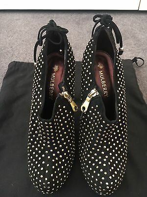 Mulberry women's studded black suede ankle boots size 38