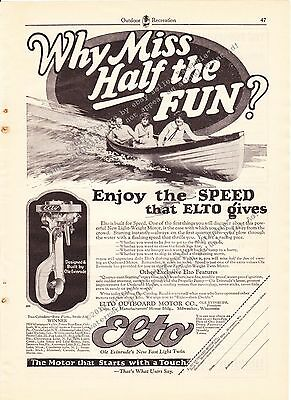 1925 Vintage Elto Outboard Motor Co. Evinrude Boat Fishing Print Ad Advertising