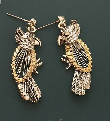 Lovely Vintage Parrot Dangle Earrings In Silver Wire On Gold Tone Metal