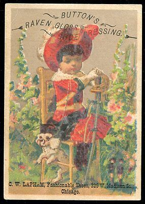 Victorian Trade Card - Button's Raven Gloss Shoe Dressing, C.W. Lapham, Chicago