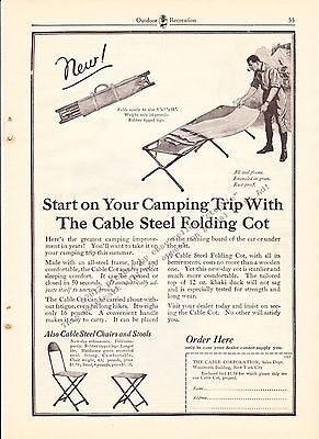 1925 Vintage The Cable Corporation Cable Cot Camping Print Ad Advertising