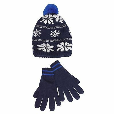 Carters Boys Navy Fair Isle Pom Pom Winter Hat and Gloves Set - Size 2T-4T