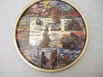 """State Of Colorado  11"""" Tin Round Gold Colored Metal Tray"""