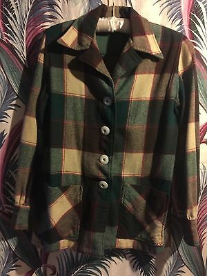 vintage green plaid 49er wool jacket medium rockabilly bombshell 1950s greaser