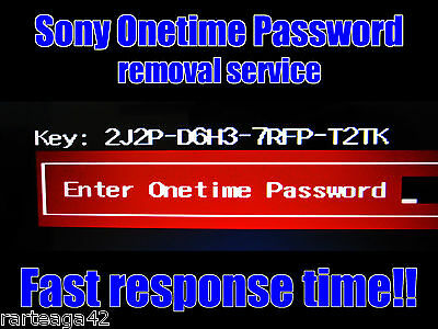 Sony Vaio Onetime Password unlock solution by KEY. Contact us first.