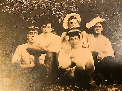 "Vintage Black & White Cabinet Card Photo of Young Ruffians 5.5"" X 6.5"""