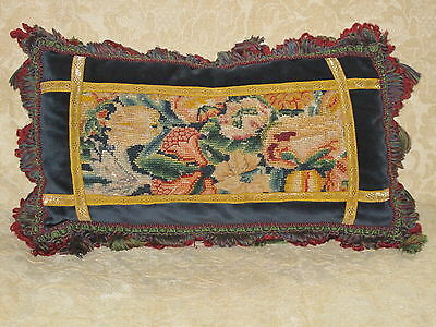 Colorful 18Th C. Abstract Floral Needlepoint Tapestry Lumbar Pillow ~ Woolwork