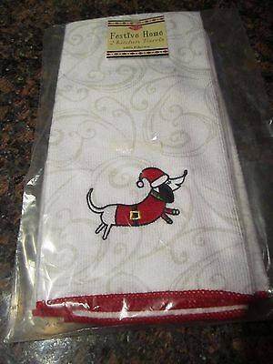 Ritz 2-Pack Furry Christmas DACHSHUND Santa Kitchen Towel Set NEW in PACKAGE