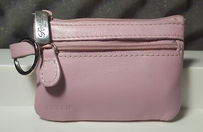 FOSSIL Pink Leather Coin Purse Wallet Key Chain Ring Mini Wallet