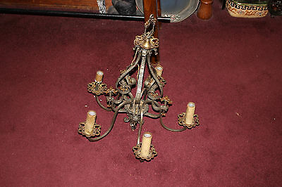 Antique Art Deco Victorian 5 Light Chandelier W/Religious Crosses-Gothic Look