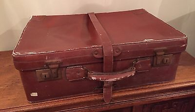 A Stunning Vintage Leather Suitcase Circa 1940s~ Burgundy Padded Satin~Quality