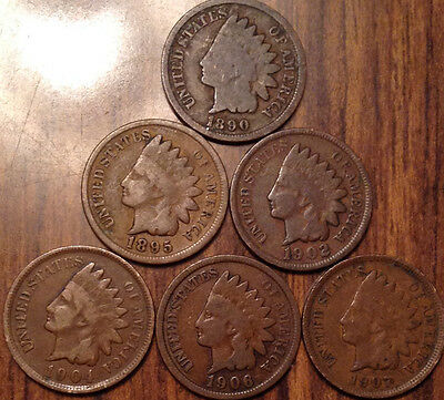 1890-1907 Lot Of 6 Usa Indian Head Small Cents Mixed Date