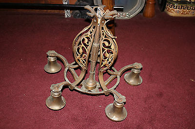Antique Victorian Art Deco Brass Metal 5 Light Chandelier W/Floral Scrolls