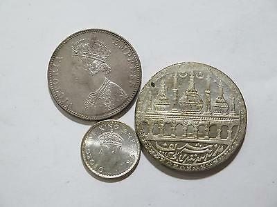 India Temple Token 1890 1939 1/4 1 Rupee Toned Type World Coin Collection Lot