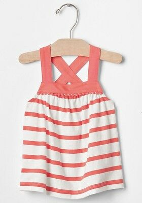Baby Gap Girl Toddler White Orange Stripe Pom Pom Tank Top 12-18 Months NWT