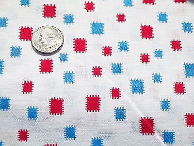 Vintage Feed Sack Feedbag Quilt Fabric BRIGHT Red & Blue blocks  on White #1