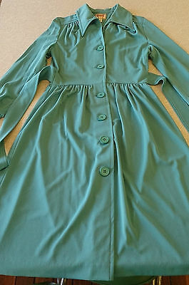 GOLDY Vintage Dress Size 14 Torquise Green Rockabilly Pin-up