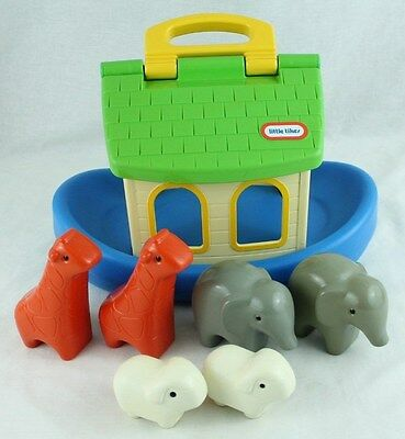 Vintage Little Tikes NOAH'S ARK Boat with 6 Animals