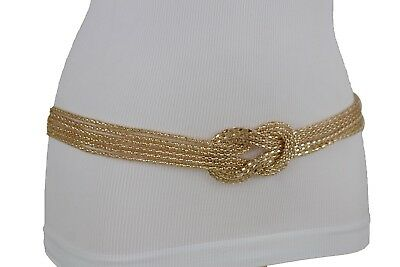 Hot Luxury Women Gold Metal Chain Infinity Belt Braided Buckle Charm XS S M L XL