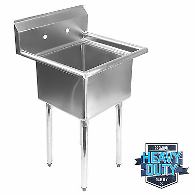 "Commercial Stainless Steel Kitchen Utility Sink - 23.5"" Wide"