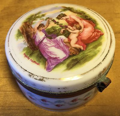 Antique 19th c ANGELICA KAUFFMAN Hinged Porcelain Trinket Box Goddess & Cherub
