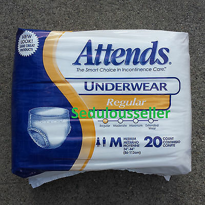 Attends Underwear 20ct MEDIUM Adult Diaper Disposable Pull Up Brief Incontinence