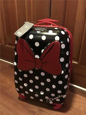 "Disney Store Minnie Mouse Hard Shell Rolling Suitcase Luggage 21"" Spinner"