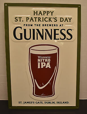 "Guinness Nitro Ipa Happy St. Patrick's Day 14"" X 20"" Embossed Metal Sign New"