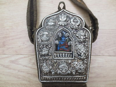 Early Portable Tibetan Antique Repousse Prayer Alter Gau Box  Case with Handle-