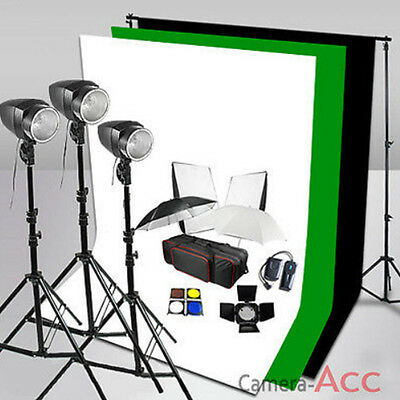 540W Flash Lighting Kit Black/White/Green Muslin Backdrop Background Stand Local